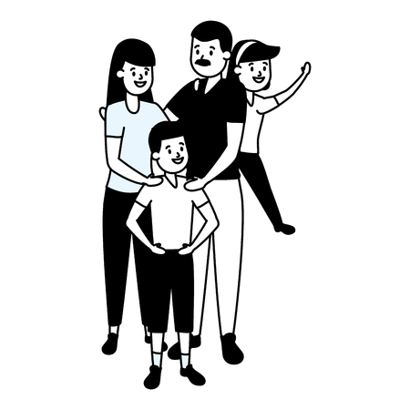 parent with son and daughter vector illustration 일러스트