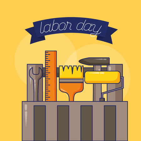 toolbox brush roller wrench construction happy labour day vector illustration