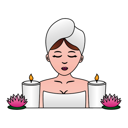 woman with towel candles and flowers spa vector illustration 向量圖像