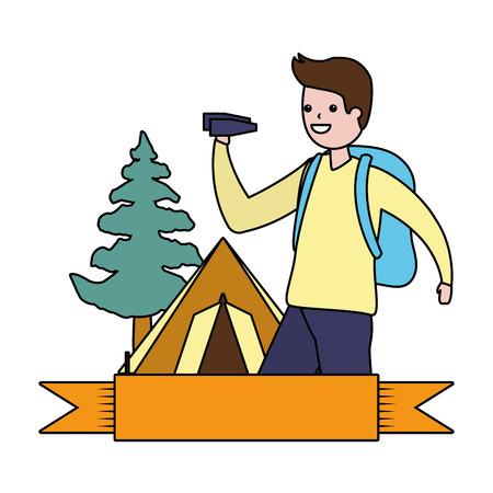 man with binoculars camping hobby vector illustration
