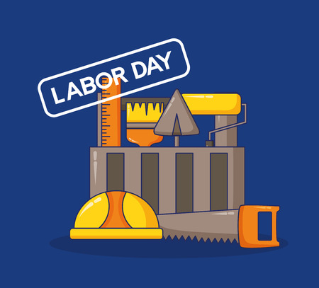 toolbox helmet saw spatula roller construction happy labour day vector illustration Stock Illustratie