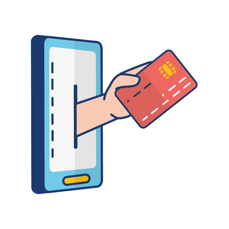 hand mobile bank card online banking vector illustration