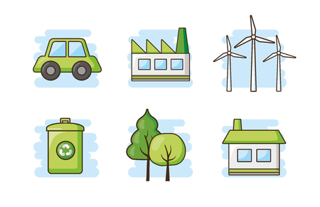 ecology energy ecology recycle set earth day vector illustration
