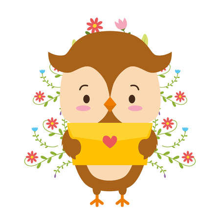 cute owl cartoon mail love vector illustration