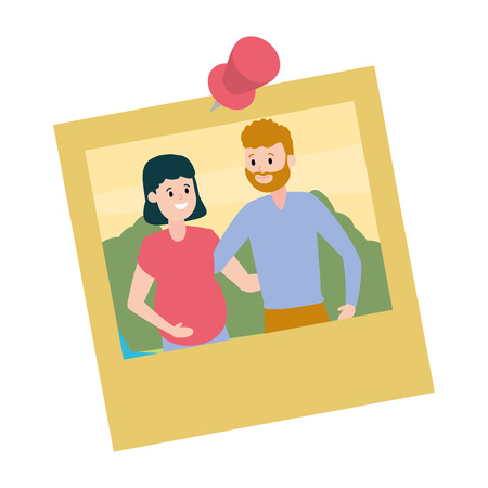 photo family smiling pregnant couple vector illustration design  イラスト・ベクター素材