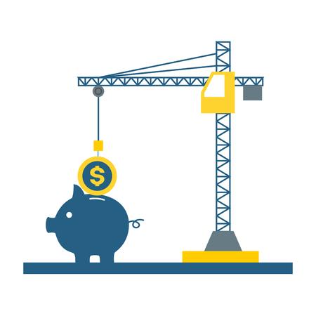 dźwig wkładając monetę na ilustracji wektorowych płatności podatku od świń Ilustracje wektorowe