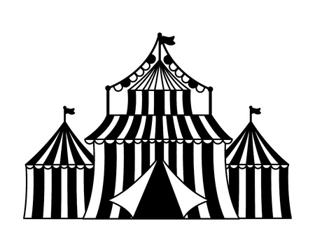 carnival tent circus amusement vector illustration design