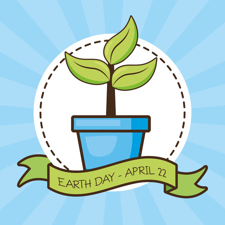 potted plant sticker earth day card vector illustration Stok Fotoğraf - 122836763