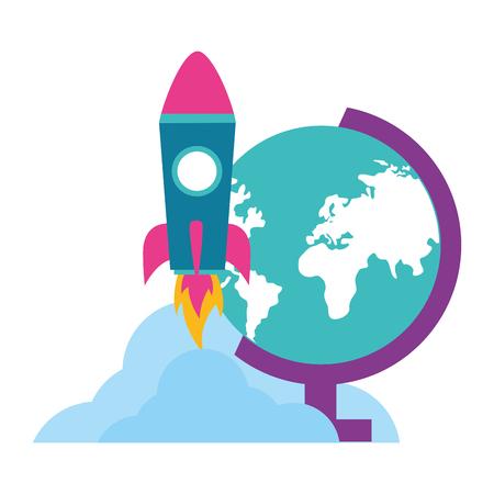 school globe rocket teachers day vector illustration Ilustração