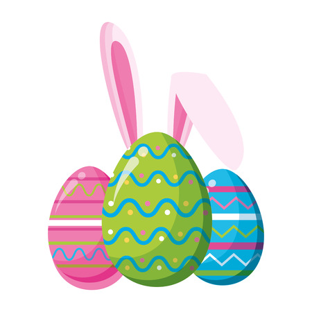happy easter eggs with ears vector illustration