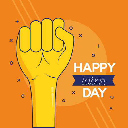 hand raised fist happy labour day vector illustration
