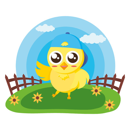 cute chick with fence in the meadow vector illustration Foto de archivo - 122836781