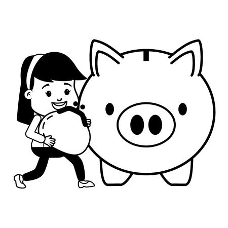 woman purse piggy bank online banking vector illustration