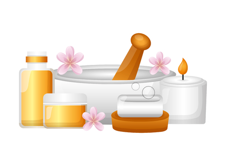 mortar candle soap gel spa treatment therapy vector illustration Foto de archivo - 122836783