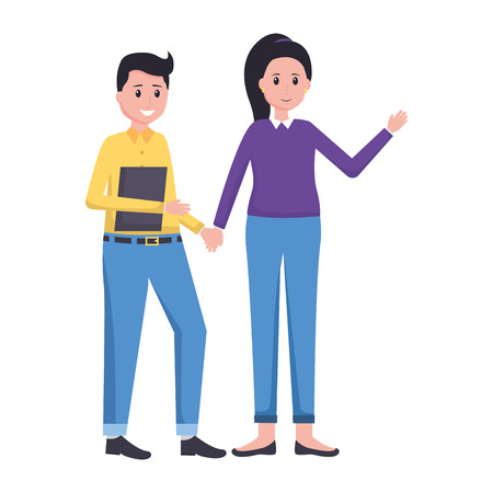 man and woman team office vector illustration