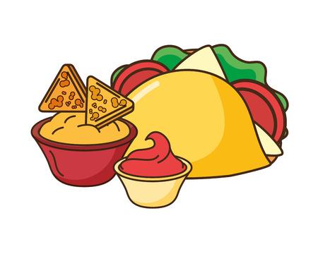 taco nachos cheese and sauce fast food vector illustration Ilustração
