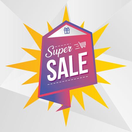 super venta de ilustración de vector de comercio de marketing