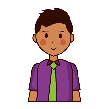 man wearing necktie on white background vector illustration Ilustrace