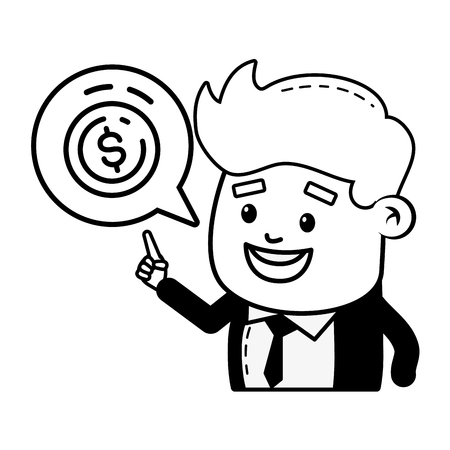 businessman money coin online banking vector illustration