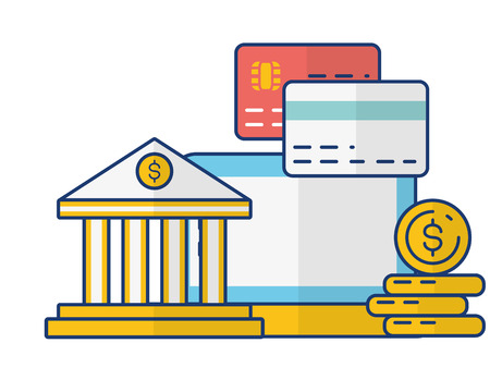 computer bank cards money online payment vector illustration 일러스트