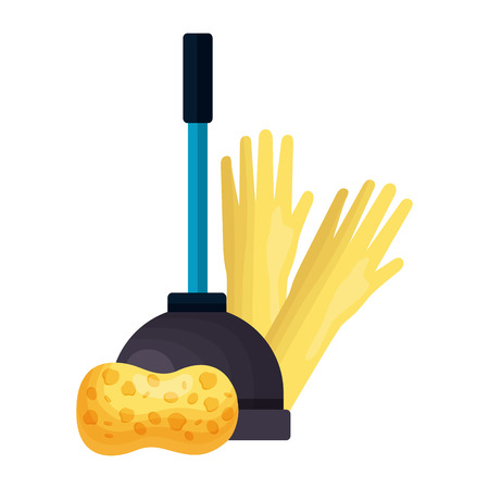 plunger gloves sponge spring cleaning tools vector illustration