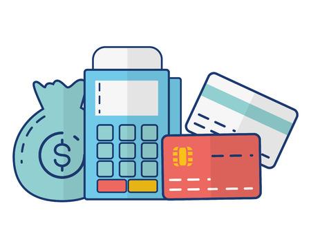 money bag pay terminal bank cards online banking vector illustration