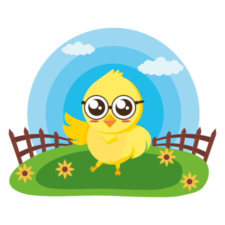 cute chick with fence in the meadow vector illustration Foto de archivo - 122836837