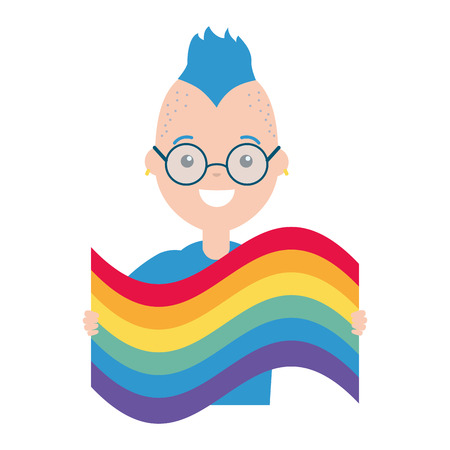 happy man with rainbow flag lgbt pride vector illustration Illustration
