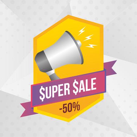 super sale off megaphone sticker vector illustration