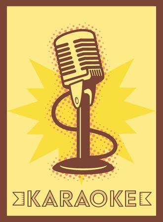 microphone karaoke retro style poster vector illustration