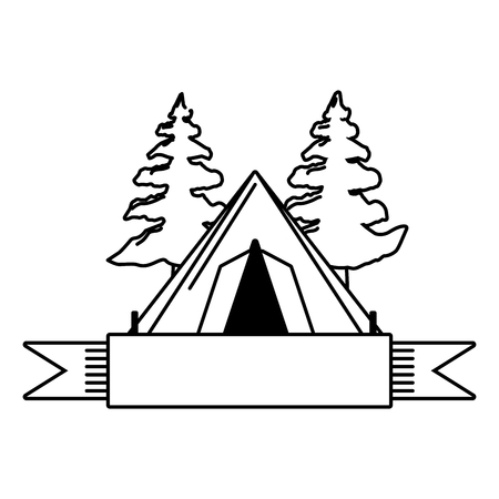 camping tent tree ribbon emblem vector illustration Stock Illustratie