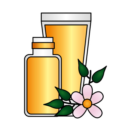 skin cream flowers spa treatment therapy vector illustration Illustration