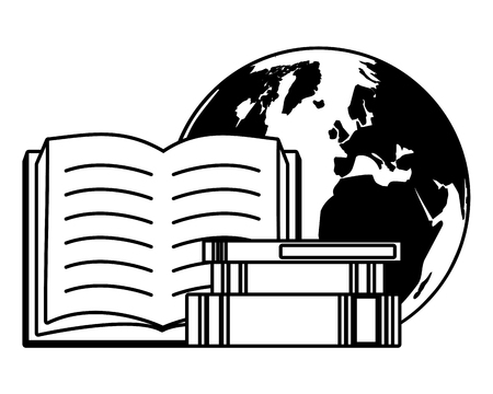 textbooks earth map - world book day vector illustration