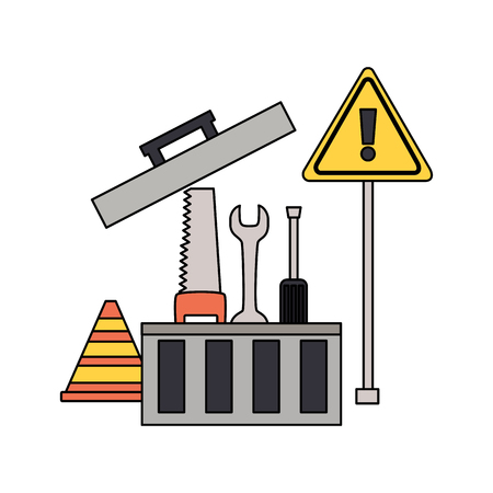 toolbox repair construction saw spanner screwdriver vector illustration Ilustração