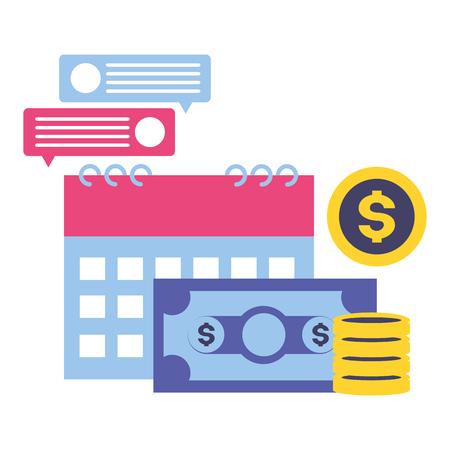 calendar money message tax time payment vector illustration