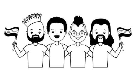 group men with flag lgbt pride vector illustration