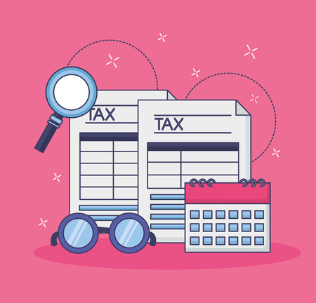 tax payment document calendar magnifier eyeglasses vector illustration Ilustração