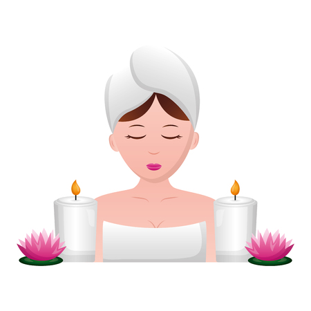 woman with towel candles and flowers spa vector illustration Archivio Fotografico - 122836996