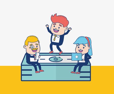 businessman and woman bills stack online banking vector illustration Illustration