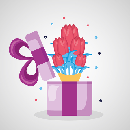 bouquet flower in gift box decoration vector illustration