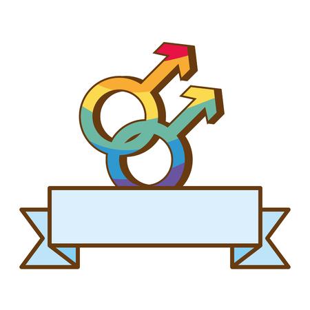 gender symbol with colors rainbow lgbt pride love vector illustration  イラスト・ベクター素材