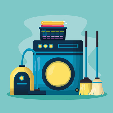 washing machine vacuum broom mop spring cleaning tools vector illustration Ilustrace
