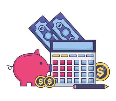 piggy bank calculator money tax time payment vector illustration