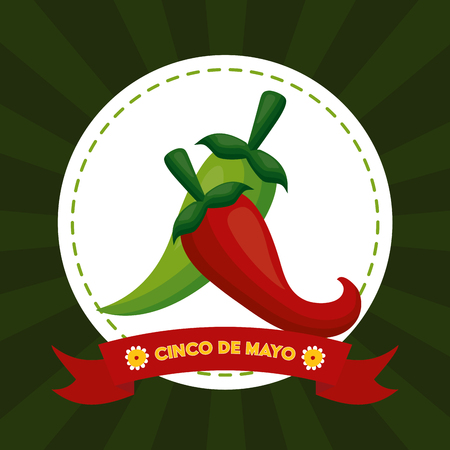 chili pepper mexico cinco de mayo sticker vector illustration