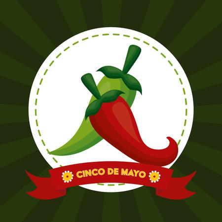 chili pepper mexico cinco de mayo sticker vector illustration