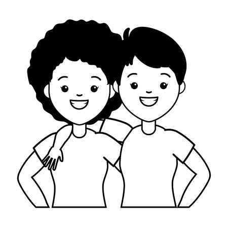 happy couple women lgbt pride vector illustration Çizim