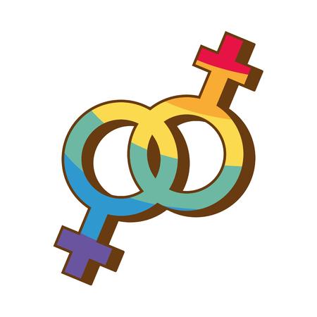 Geschlechtssymbol mit Farben Regenbogen Stolz Liebesvektorillustration
