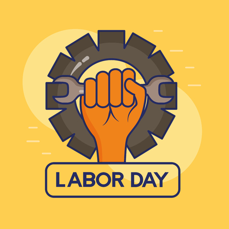 hand holding wrench gear happy labour day vector illustration