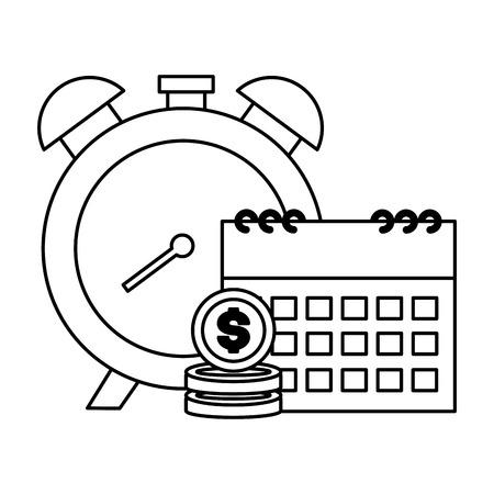 clock calendar money tax time payment vector illustration