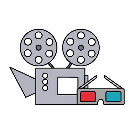 cinema projector and cinema glasses vector illustration design